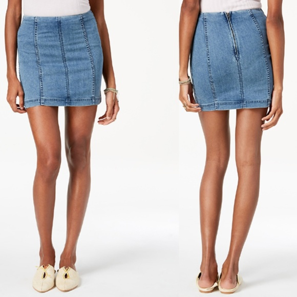 4014ca897 Free People Dresses & Skirts - Free People Denim Mini-Skirt Size 10 Stone  Wash